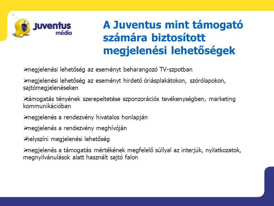 A Juventus mint támogató számára biztosított megjelenési lehetőségek  megjelenési lehetőség az eseményt beharangozó TV-szpotban  megjelenési lehetős