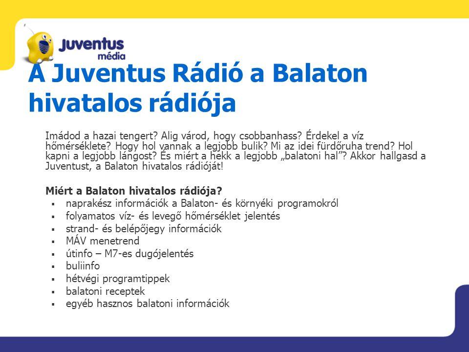 A Juventus Rádió a Balaton hivatalos rádiója Imádod a hazai tengert? Alig várod, hogy csobbanhass? Érdekel a víz hőmérséklete? Hogy hol vannak a legjo