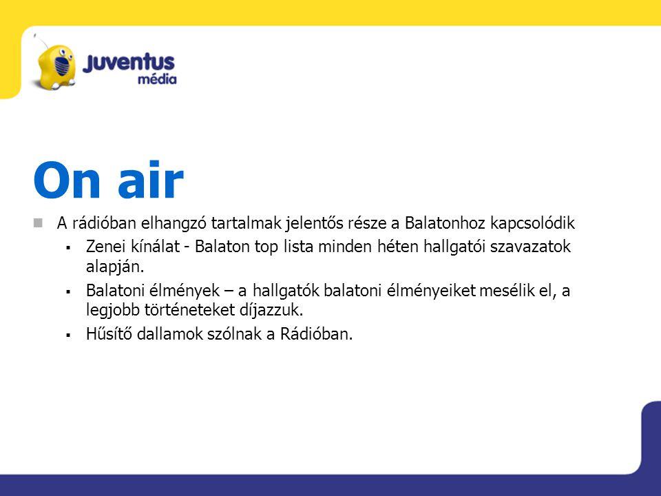 On air A rádióban elhangzó tartalmak jelentős része a Balatonhoz kapcsolódik  Zenei kínálat - Balaton top lista minden héten hallgatói szavazatok ala