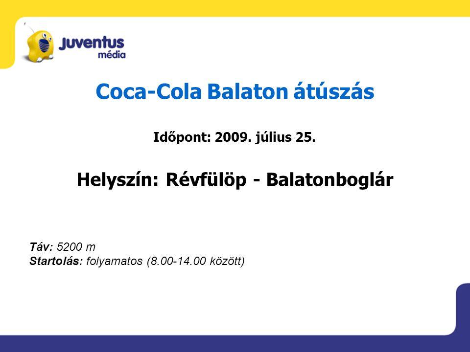 Coca-Cola Balaton átúszás Időpont: 2009. július 25. Helyszín: Révfülöp - Balatonboglár Táv: 5200 m Startolás: folyamatos (8.00-14.00 között)