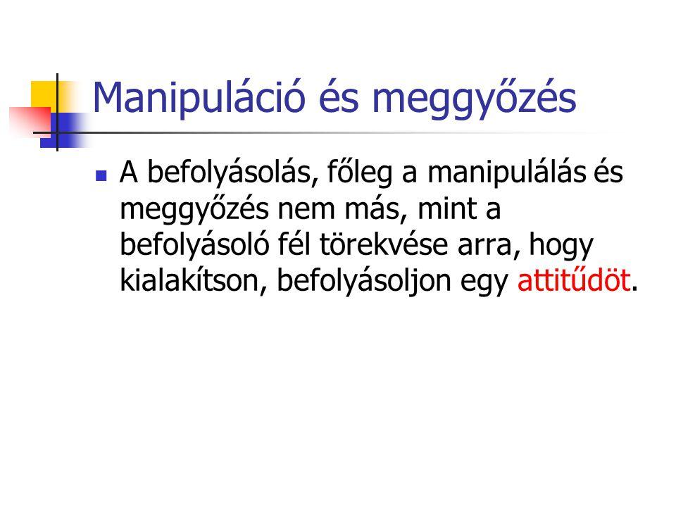 Manipuláció és meggyőzés A befolyásolás, főleg a manipulálás és meggyőzés nem más, mint a befolyásoló fél törekvése arra, hogy kialakítson, befolyásol