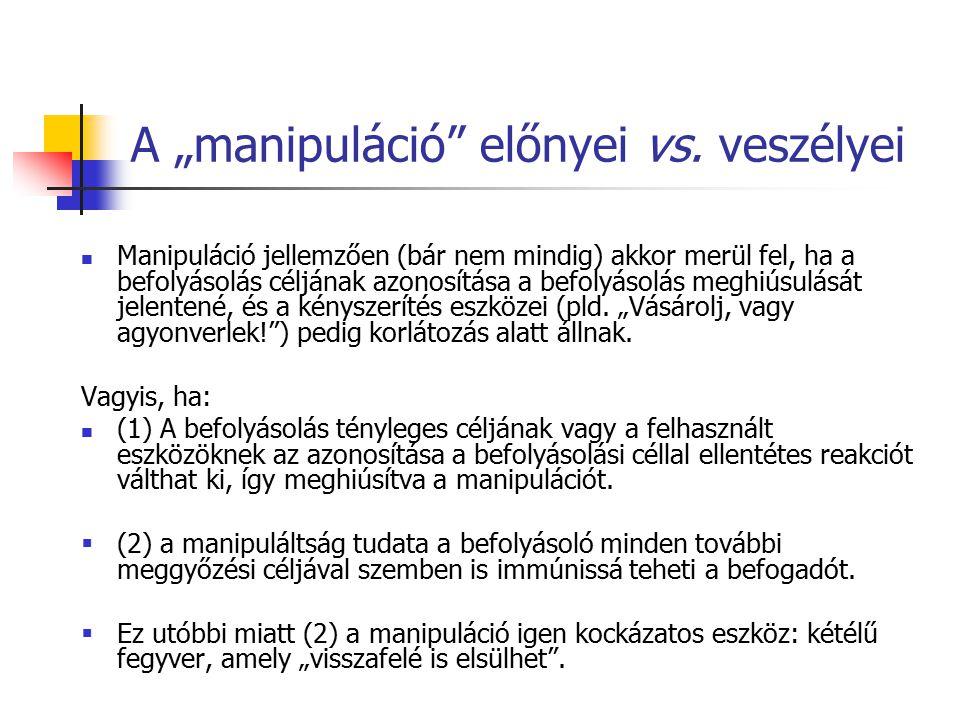 """A """"manipuláció"""" előnyei vs. veszélyei Manipuláció jellemzően (bár nem mindig) akkor merül fel, ha a befolyásolás céljának azonosítása a befolyásolás m"""