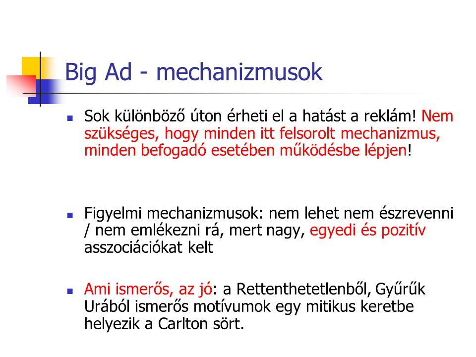 Big Ad - mechanizmusok Sok különböző úton érheti el a hatást a reklám! Nem szükséges, hogy minden itt felsorolt mechanizmus, minden befogadó esetében