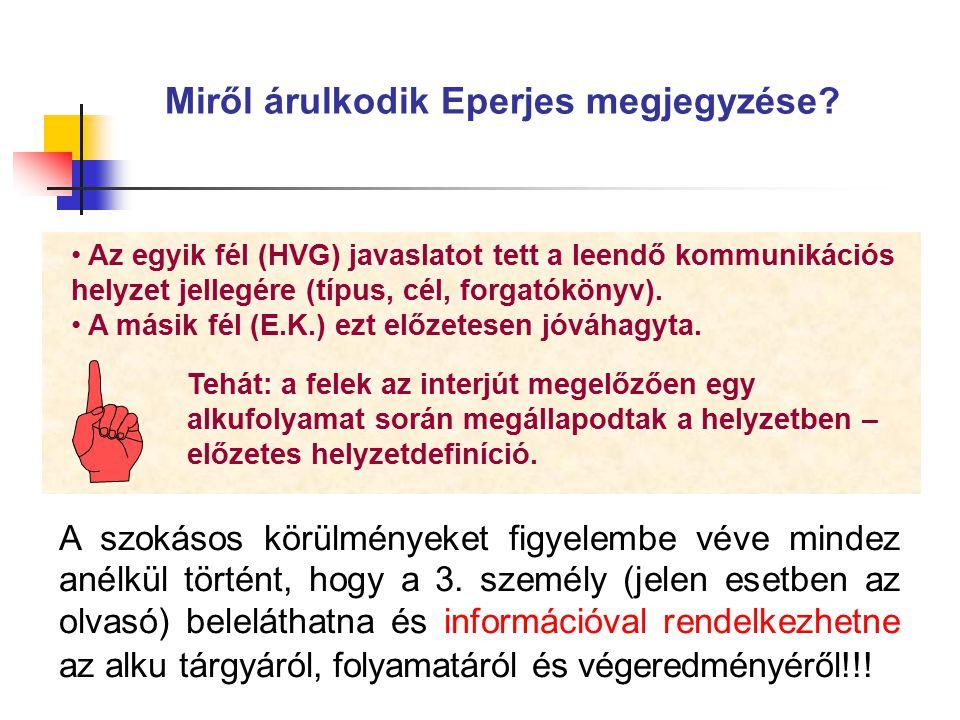 Az egyik fél (HVG) javaslatot tett a leendő kommunikációs helyzet jellegére (típus, cél, forgatókönyv). A másik fél (E.K.) ezt előzetesen jóváhagyta.