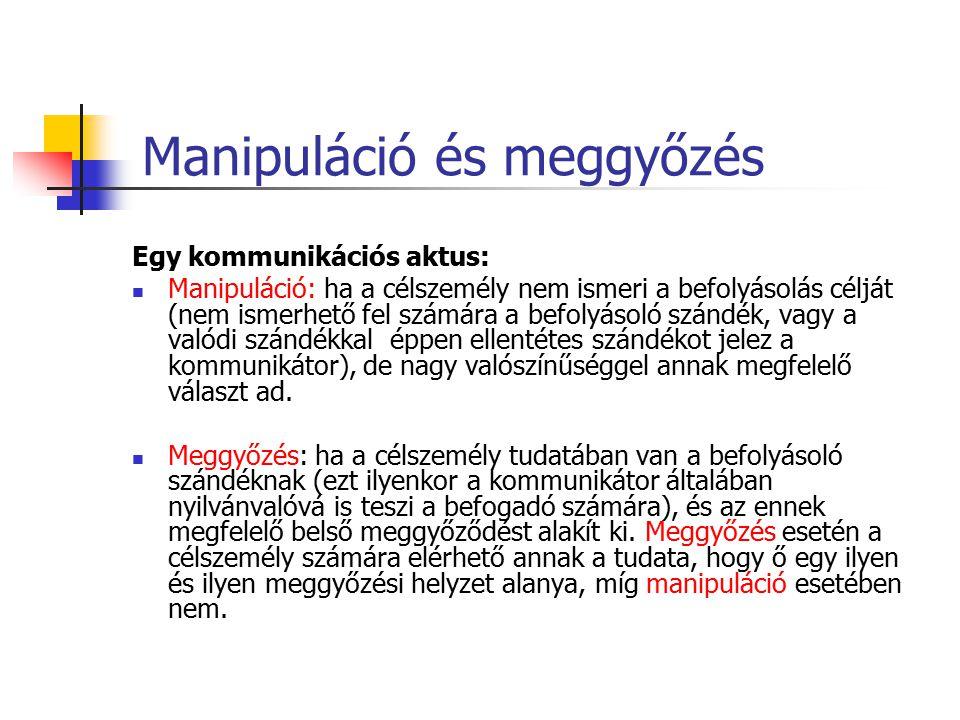 Manipuláció és meggyőzés Egy kommunikációs aktus: Manipuláció: ha a célszemély nem ismeri a befolyásolás célját (nem ismerhető fel számára a befolyáso
