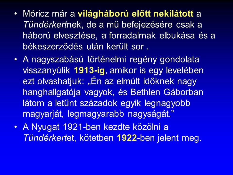Móricz már a világháború előtt nekilátott a Tündérkertnek, de a mű befejezésére csak a háború elvesztése, a forradalmak elbukása és a békeszerződés ut