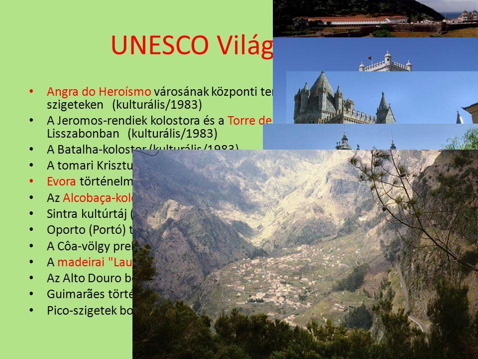 UNESCO Világörökség Angra do Heroísmo városának központi területe az Azori- szigeteken (kulturális/1983) A Jeromos-rendiek kolostora és a Torre de Bel