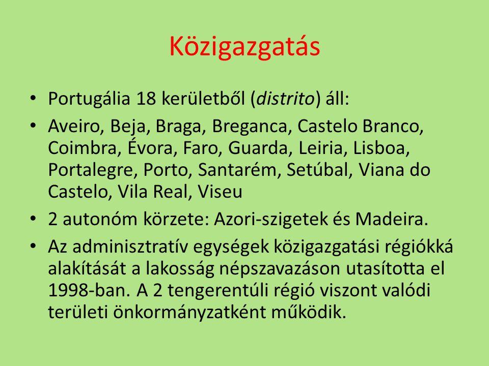 Közigazgatás Portugália 18 kerületből (distrito) áll: Aveiro, Beja, Braga, Breganca, Castelo Branco, Coimbra, Évora, Faro, Guarda, Leiria, Lisboa, Portalegre, Porto, Santarém, Setúbal, Viana do Castelo, Vila Real, Viseu 2 autonóm körzete: Azori-szigetek és Madeira.