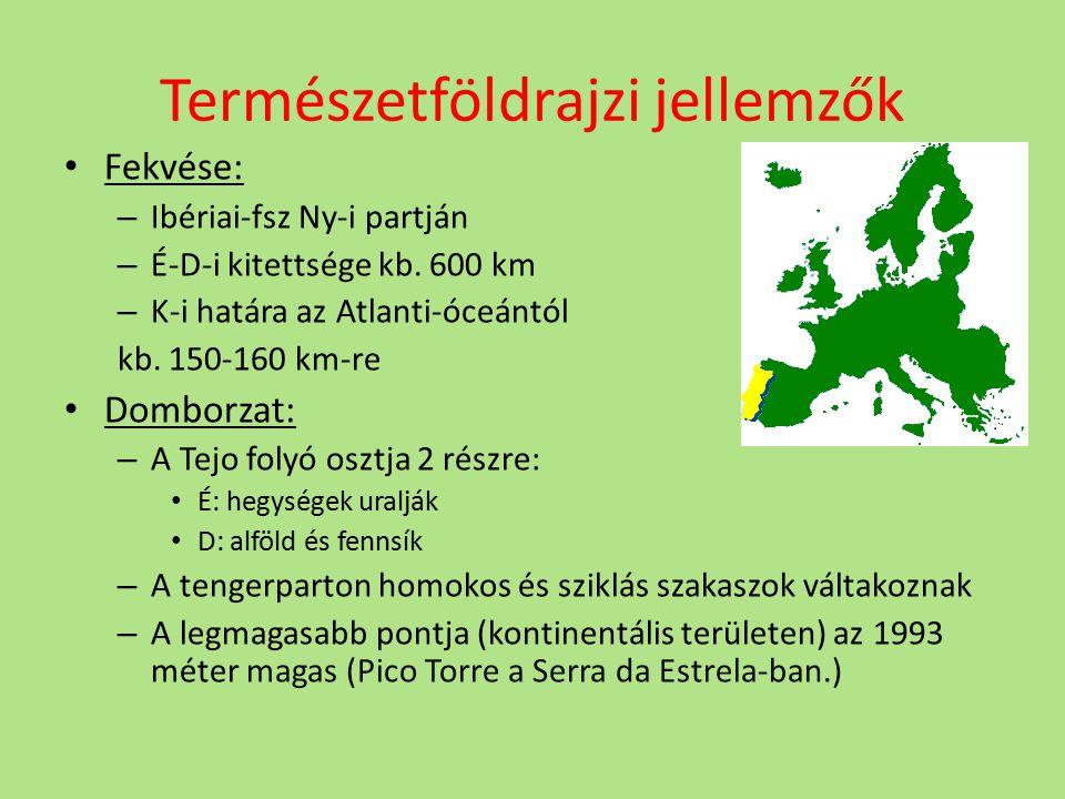 Természetföldrajzi jellemzők Fekvése: – Ibériai-fsz Ny-i partján – É-D-i kitettsége kb. 600 km – K-i határa az Atlanti-óceántól kb. 150-160 km-re Domb
