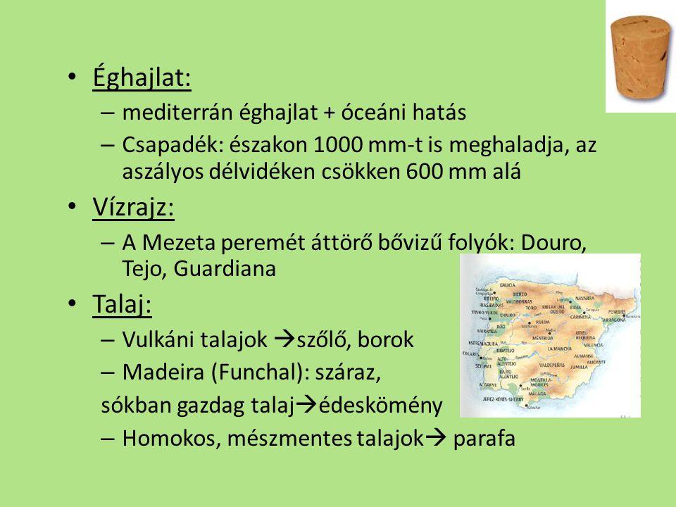Éghajlat: – mediterrán éghajlat + óceáni hatás – Csapadék: északon 1000 mm-t is meghaladja, az aszályos délvidéken csökken 600 mm alá Vízrajz: – A Mezeta peremét áttörő bővizű folyók: Douro, Tejo, Guardiana Talaj: – Vulkáni talajok  szőlő, borok – Madeira (Funchal): száraz, sókban gazdag talaj  édeskömény – Homokos, mészmentes talajok  parafa