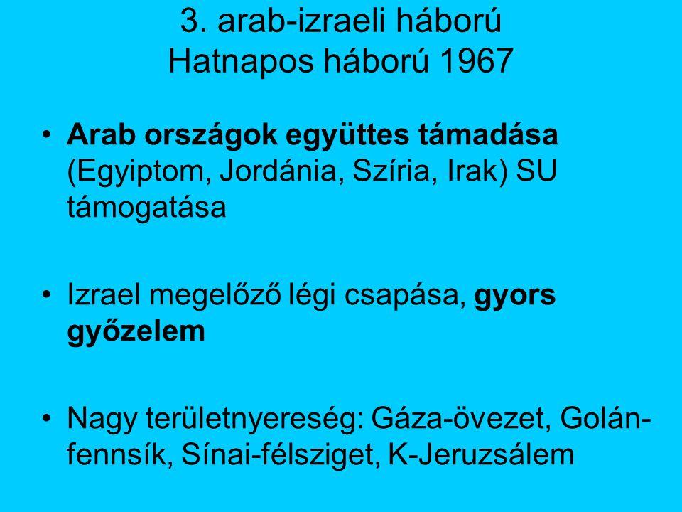 3. arab-izraeli háború Hatnapos háború 1967 Arab országok együttes támadása (Egyiptom, Jordánia, Szíria, Irak) SU támogatása Izrael megelőző légi csap