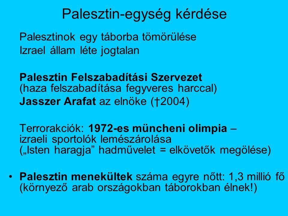"""Palesztin-egység kérdése Palesztinok egy táborba tömörülése Izrael állam léte jogtalan Palesztin Felszabadítási Szervezet (haza felszabadítása fegyveres harccal) Jasszer Arafat az elnöke (†2004) Terrorakciók: 1972-es müncheni olimpia – izraeli sportolók lemészárolása (""""Isten haragja hadművelet = elkövetők megölése) Palesztin menekültek száma egyre nőtt: 1,3 millió fő (környező arab országokban táborokban élnek!)"""