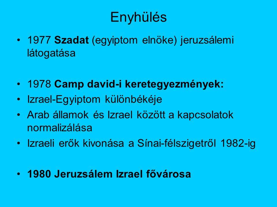 Enyhülés 1977 Szadat (egyiptom elnöke) jeruzsálemi látogatása 1978 Camp david-i keretegyezmények: Izrael-Egyiptom különbékéje Arab államok és Izrael között a kapcsolatok normalizálása Izraeli erők kivonása a Sínai-félszigetről 1982-ig 1980 Jeruzsálem Izrael fővárosa
