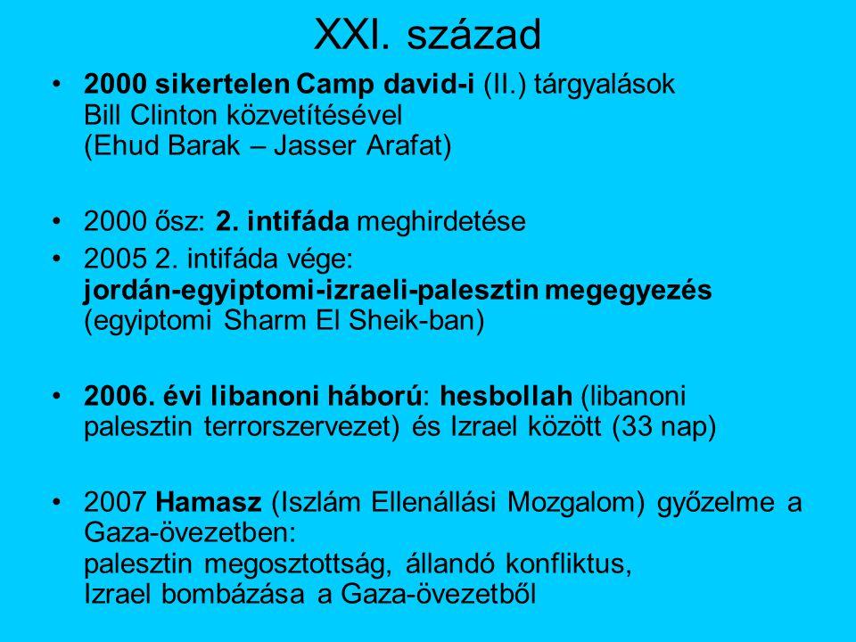 XXI. század 2000 sikertelen Camp david-i (II.) tárgyalások Bill Clinton közvetítésével (Ehud Barak – Jasser Arafat) 2000 ősz: 2. intifáda meghirdetése