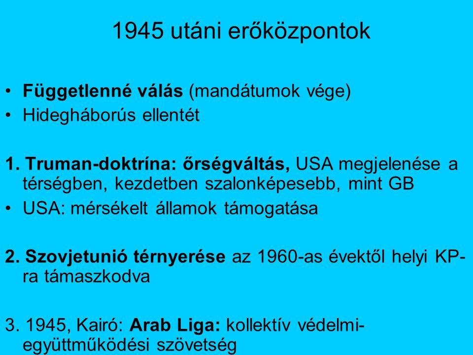 1945 utáni erőközpontok Függetlenné válás (mandátumok vége) Hidegháborús ellentét 1.