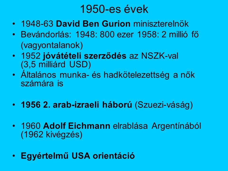1950-es évek 1948-63 David Ben Gurion miniszterelnök Bevándorlás: 1948: 800 ezer 1958: 2 millió fő (vagyontalanok) 1952 jóvátételi szerződés az NSZK-val (3,5 milliárd USD) Általános munka- és hadkötelezettség a nők számára is 1956 2.