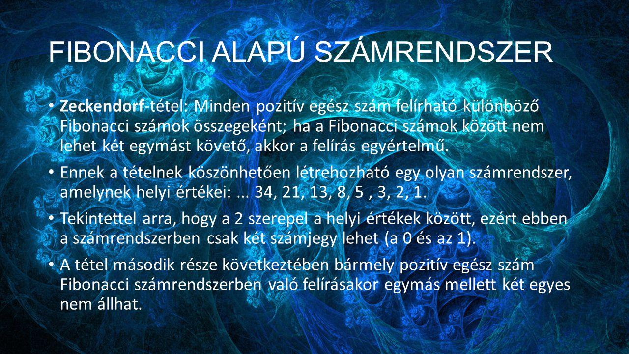 FIBONACCI ALAPÚ SZÁMRENDSZER Zeckendorf-tétel: Minden pozitív egész szám felírható különböző Fibonacci számok összegeként; ha a Fibonacci számok közöt
