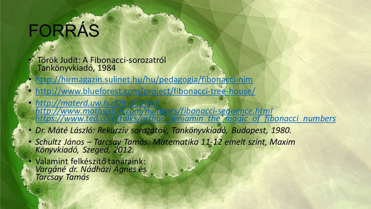 FORRÁS Török Judit: A Fibonacci-sorozatról Tankönyvkiadó, 1984 http://hirmagazin.sulinet.hu/hu/pedagogia/fibonacci-nim http://www.blueforest.com/proje