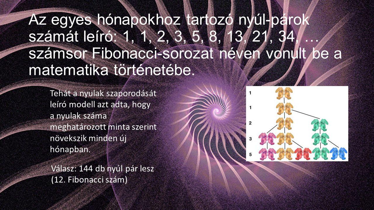 Az egyes hónapokhoz tartozó nyúl-párok számát leíró: 1, 1, 2, 3, 5, 8, 13, 21, 34, … számsor Fibonacci-sorozat néven vonult be a matematika történetéb