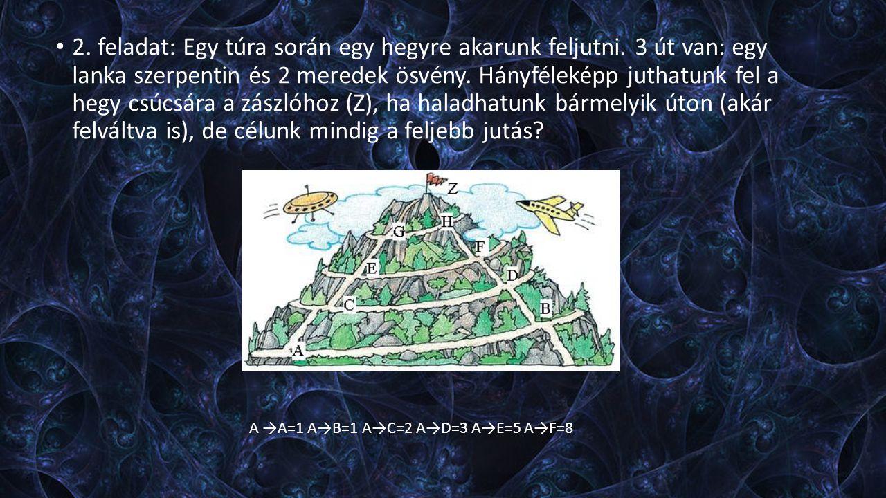 2. feladat: Egy túra során egy hegyre akarunk feljutni. 3 út van: egy lanka szerpentin és 2 meredek ösvény. Hányféleképp juthatunk fel a hegy csúcsára