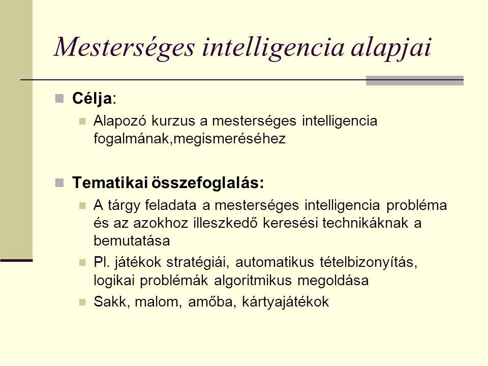 Mesterséges intelligencia alapjai Célja: Alapozó kurzus a mesterséges intelligencia fogalmának,megismeréséhez Tematikai összefoglalás: A tárgy feladat