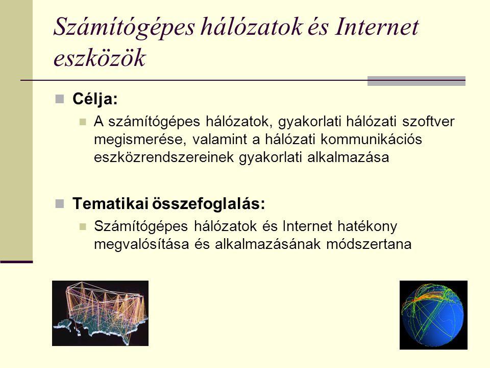Számítógépes hálózatok és Internet eszközök Célja: A számítógépes hálózatok, gyakorlati hálózati szoftver megismerése, valamint a hálózati kommunikáci