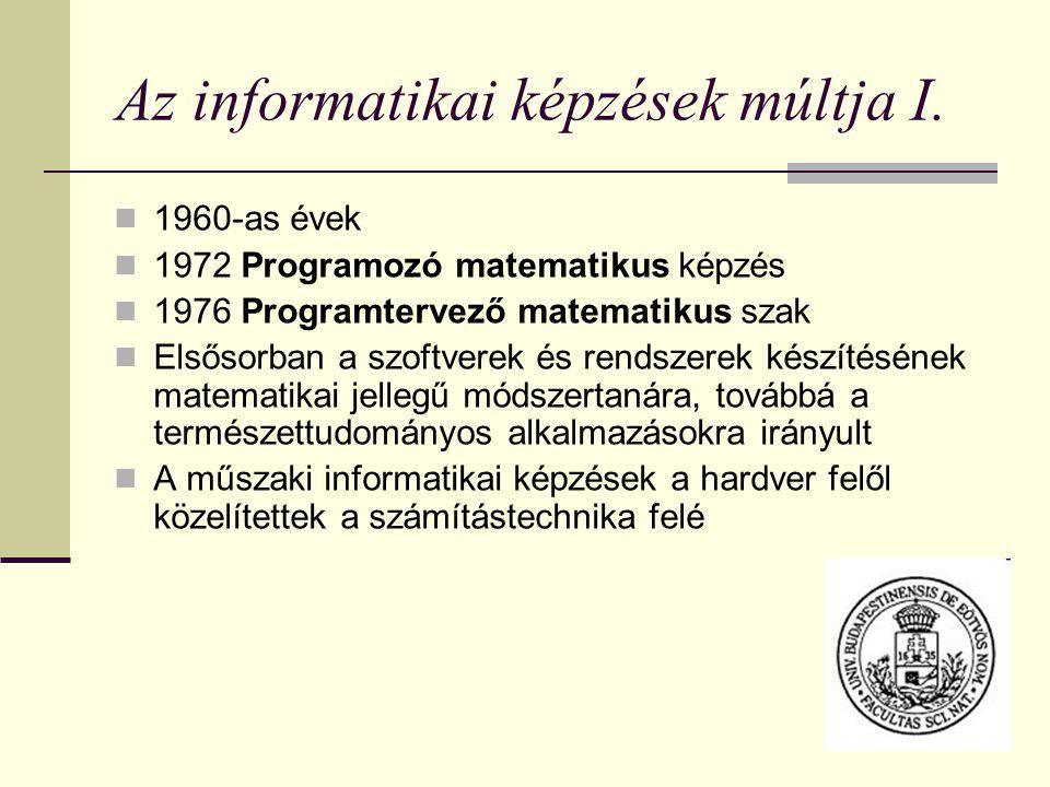 Az informatikai képzések múltja I. 1960-as évek 1972 Programozó matematikus képzés 1976 Programtervező matematikus szak Elsősorban a szoftverek és ren
