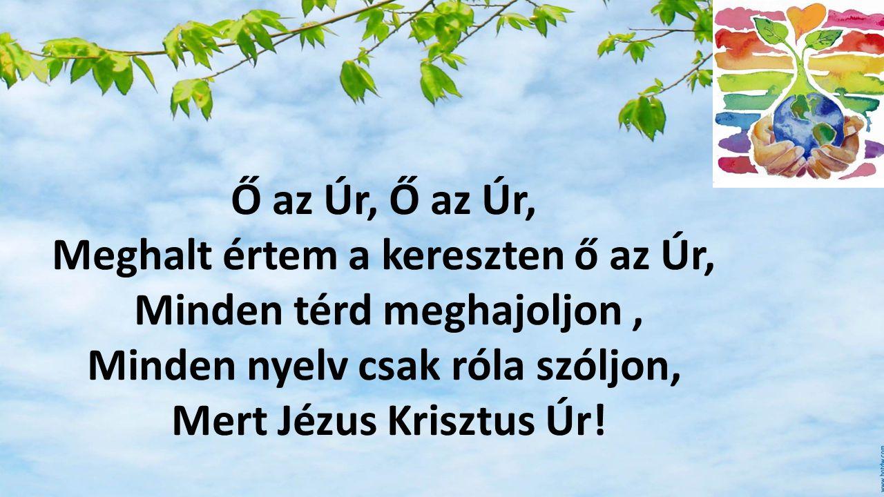 Ő az Úr, Meghalt értem a kereszten ő az Úr, Minden térd meghajoljon, Minden nyelv csak róla szóljon, Mert Jézus Krisztus Úr!