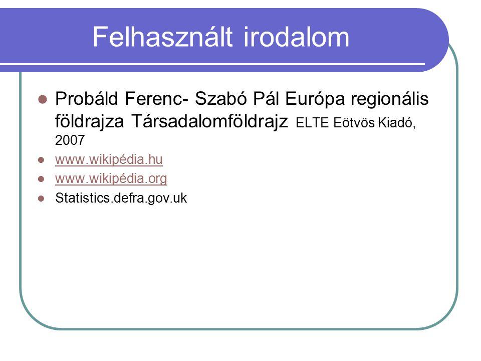Felhasznált irodalom Probáld Ferenc- Szabó Pál Európa regionális földrajza Társadalomföldrajz ELTE Eötvös Kiadó, 2007 www.wikipédia.hu www.wikipédia.o