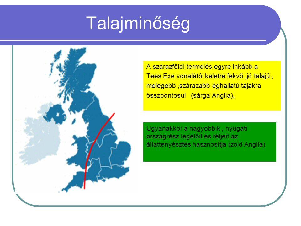 Talajminőség A szárazföldi termelés egyre inkább a Tees Exe vonalától keletre fekvő,jó talajú, melegebb,szárazabb éghajlatú tájakra összpontosul (sárg