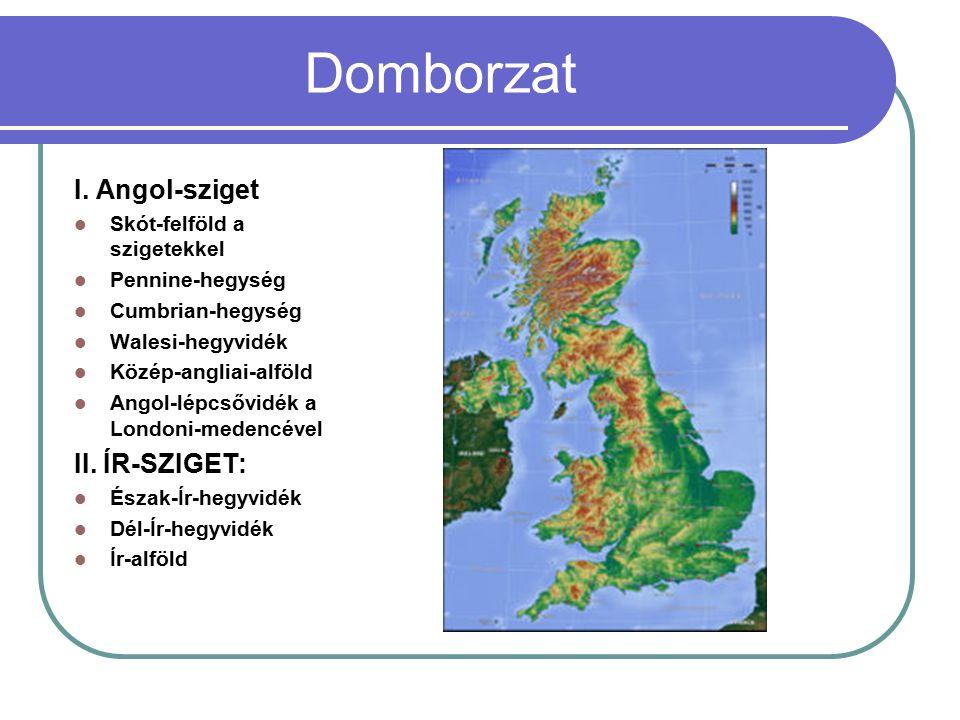 Domborzat I. Angol-sziget Skót-felföld a szigetekkel Pennine-hegység Cumbrian-hegység Walesi-hegyvidék Közép-angliai-alföld Angol-lépcsővidék a London
