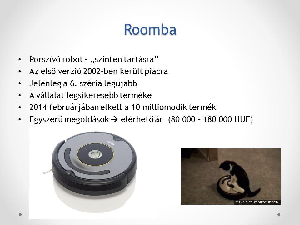 """Roomba Porszívó robot – """"szinten tartásra Az első verzió 2002-ben került piacra Jelenleg a 6."""
