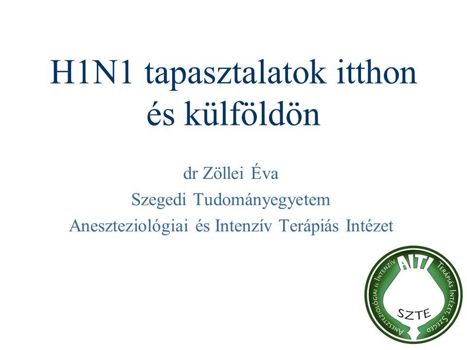 H1N1 tapasztalatok itthon és külföldön dr Zöllei Éva Szegedi Tudományegyetem Aneszteziológiai és Intenzív Terápiás Intézet