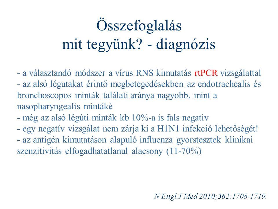 Összefoglalás mit tegyünk? - diagnózis - a választandó módszer a vírus RNS kimutatás rtPCR vizsgálattal - az alsó légutakat érintő megbetegedésekben a