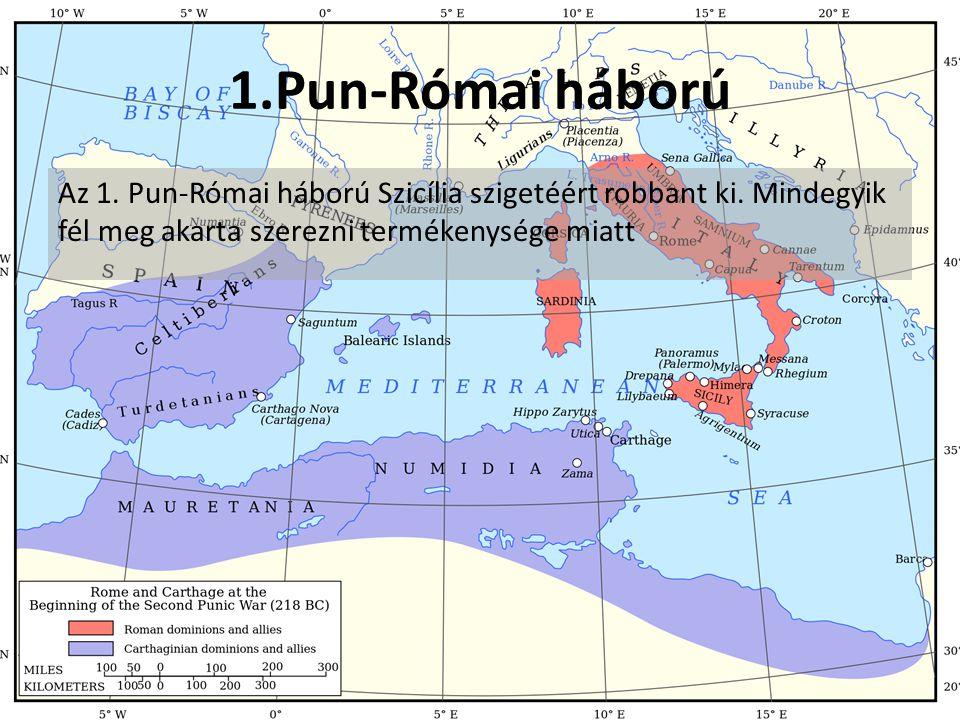 1.Pun-Római háború Az 1.Pun-Római háború Szicília szigetéért robbant ki.