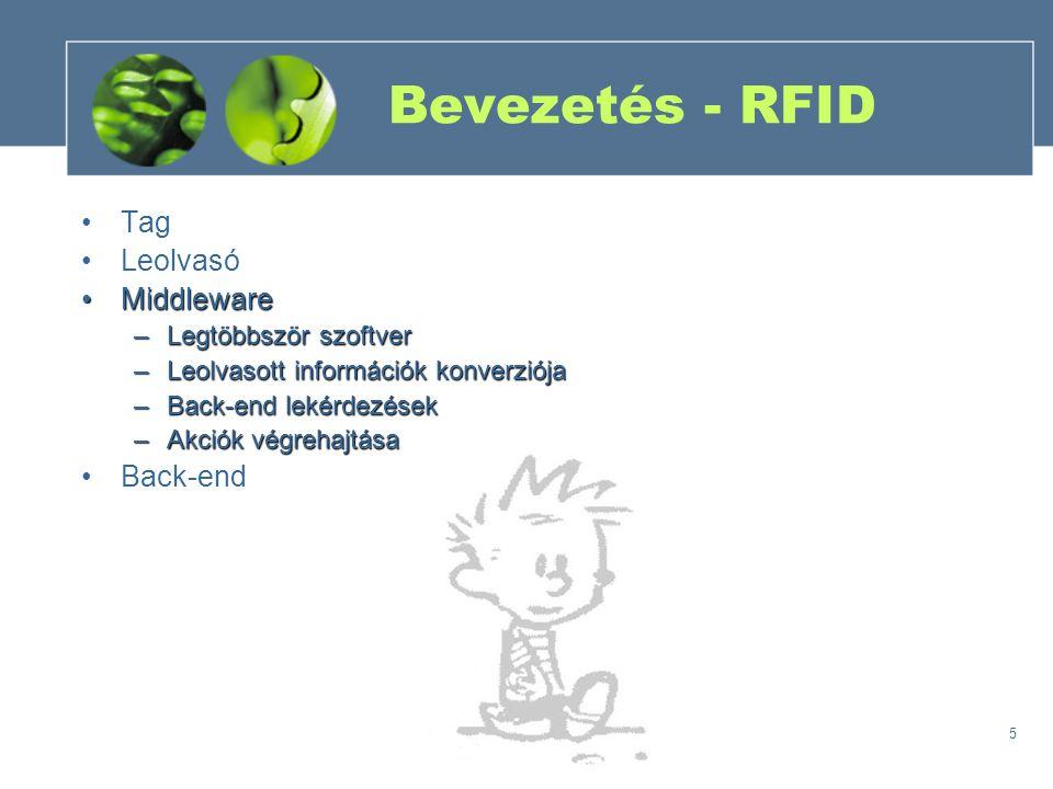 5 Bevezetés - RFID Tag Leolvasó MiddlewareMiddleware –Legtöbbször szoftver –Leolvasott információk konverziója –Back-end lekérdezések –Akciók végrehajtása Back-end