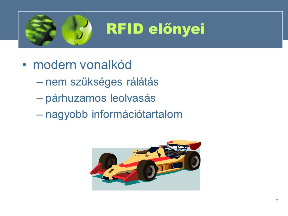 7 RFID előnyei modern vonalkód –nem szükséges rálátás –párhuzamos leolvasás –nagyobb információtartalom