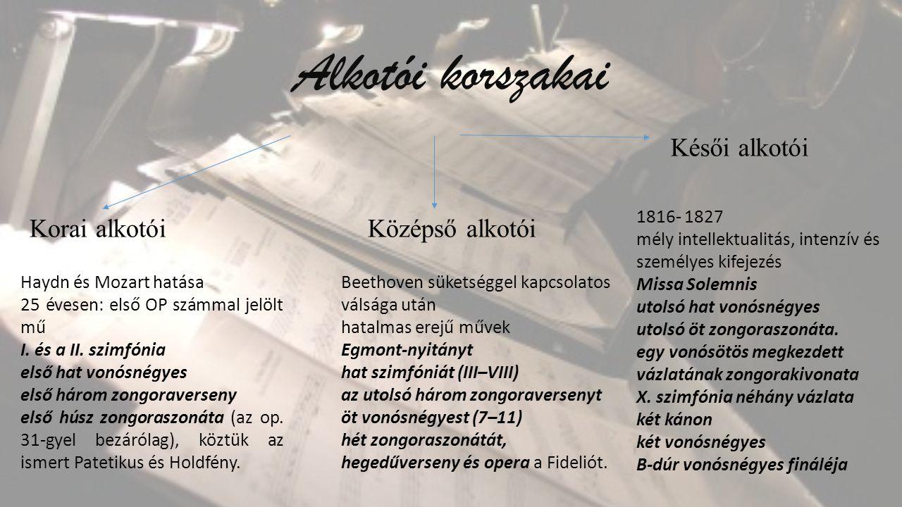 Alkotói korszakai Korai alkotóiKözépső alkotói Haydn és Mozart hatása 25 évesen: első OP számmal jelölt mű I.