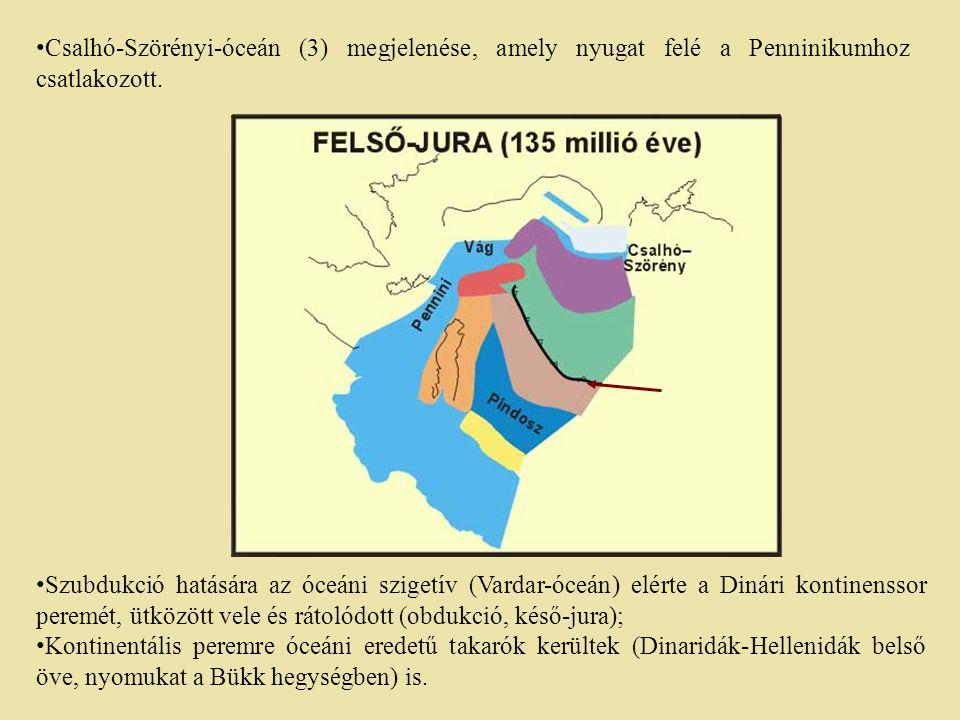 Szubdukció hatására az óceáni szigetív (Vardar-óceán) elérte a Dinári kontinenssor peremét, ütközött vele és rátolódott (obdukció, késő-jura); Kontine