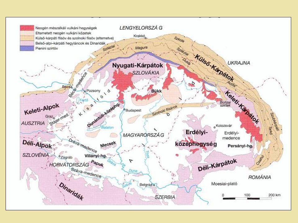 Alcapa-lemeztömb A Közép-magyarországi vonaltól északra; Északi szegélye a Pienini-szirtöv, (500 kilométer hosszan húzódó keskeny öv a külső-kárpáti flistakarók belső oldalán); Különböző kisebb, különböző mértékben mozgó egységekből áll; Egységei: Belső-Nyugati-Kárpátok - északi egység Pelso - déli egység (Dunántúli-khg-Bükk) Tisza–Dácia-lemeztömb Közép-magyarországi vonaltól délre, Száva vonalától északra.