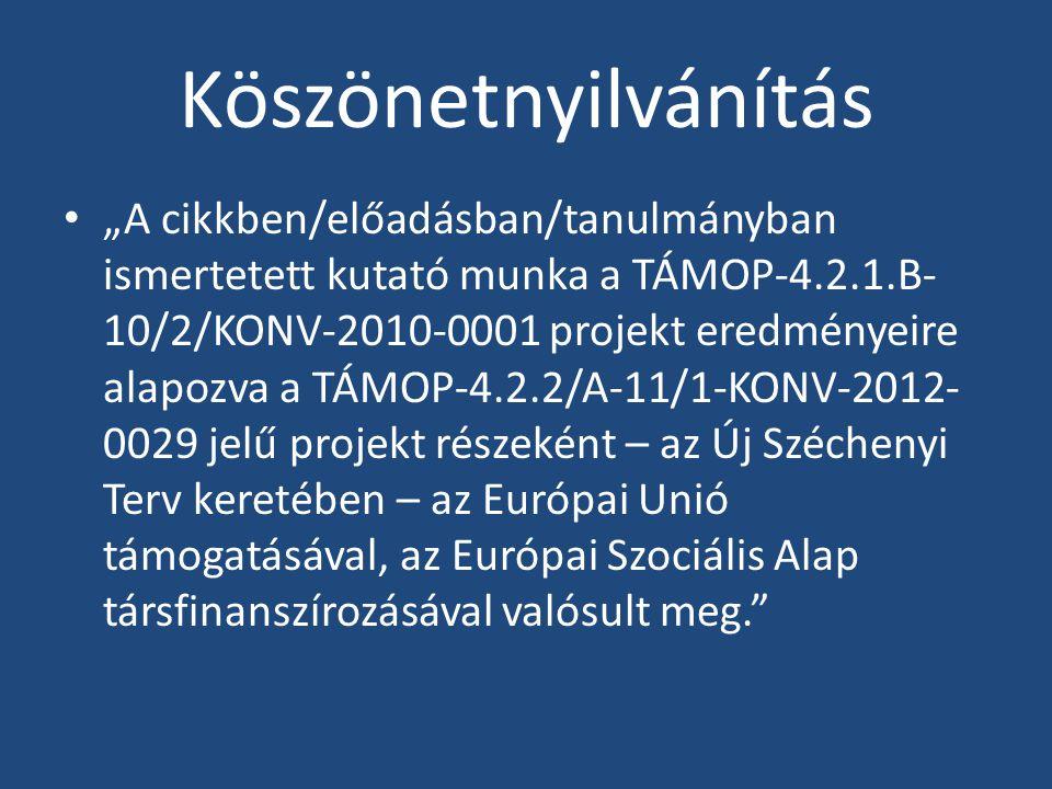 """Köszönetnyilvánítás """"A cikkben/előadásban/tanulmányban ismertetett kutató munka a TÁMOP-4.2.1.B- 10/2/KONV-2010-0001 projekt eredményeire alapozva a T"""