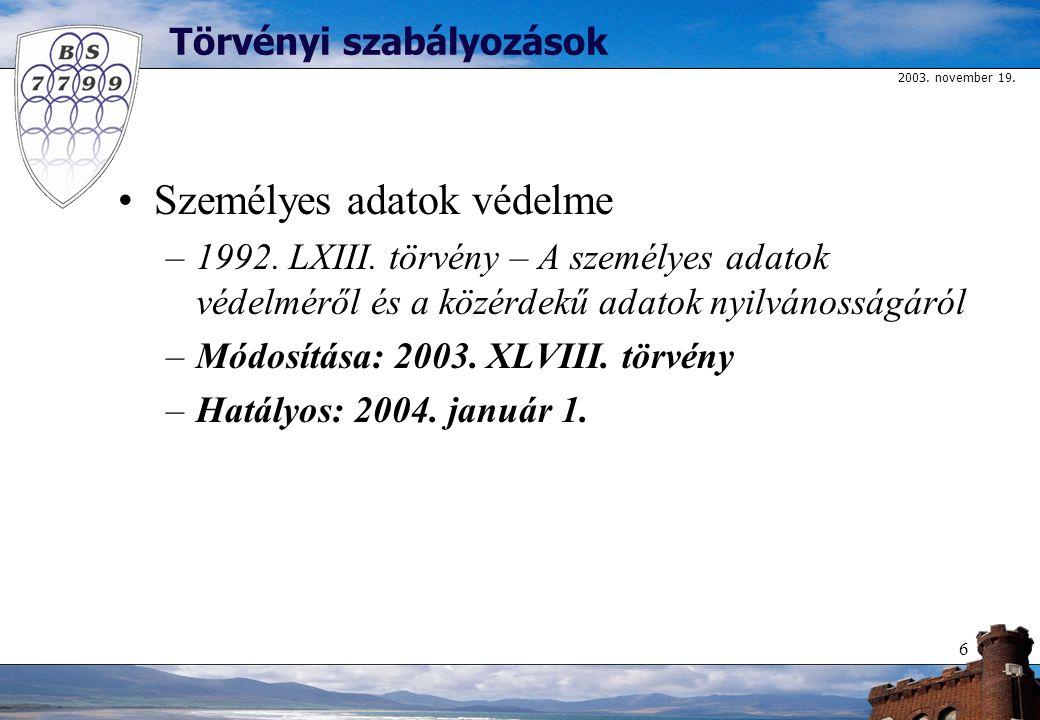 2003. november 19. 6 Törvényi szabályozások Személyes adatok védelme –1992.