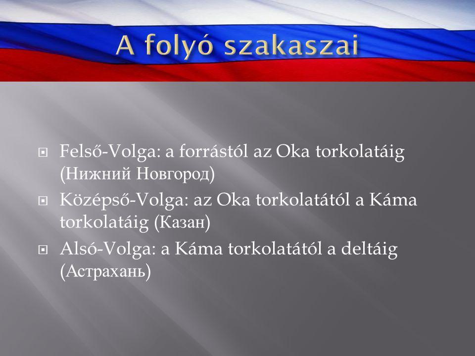 Felső-Volga: a forrástól az Oka torkolatáig ( Нижний Новгород )  Középső-Volga: az Oka torkolatától a Káma torkolatáig ( Казан )  Alsó-Volga: a Ká