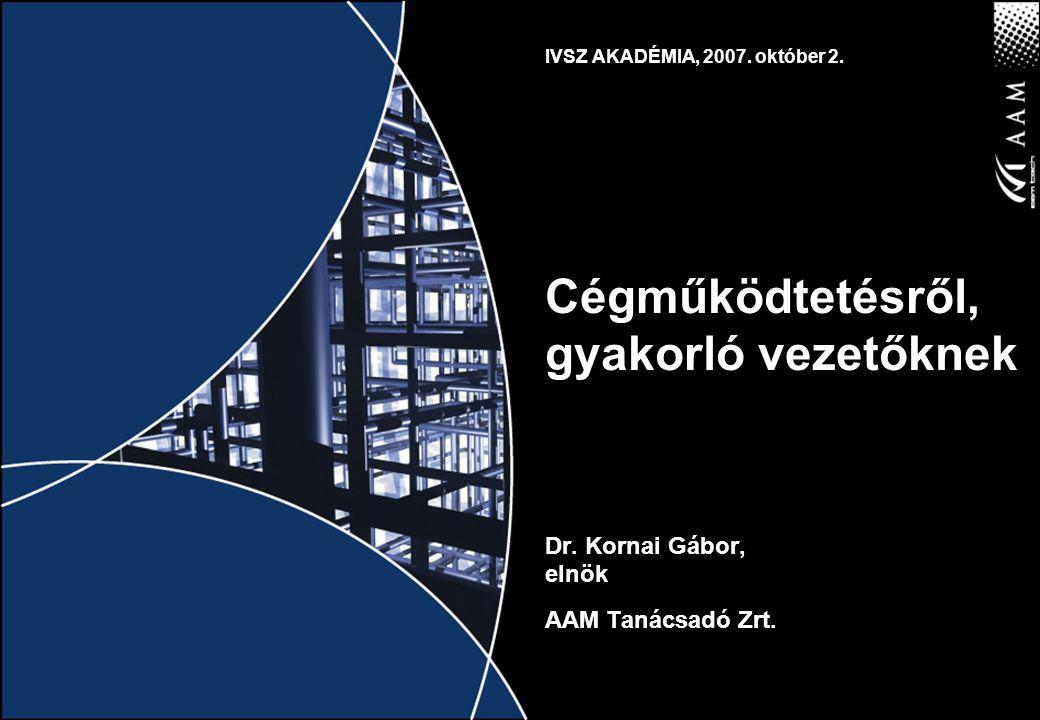 IVSZ AKADÉMIA, 2007. október 2. Cégműködtetésről, gyakorló vezetőknek Dr.