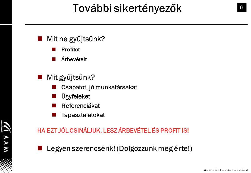 AAM Vezetői Informatikai Tanácsadó zRt.6 További sikertényezők Mit ne gyűjtsünk.