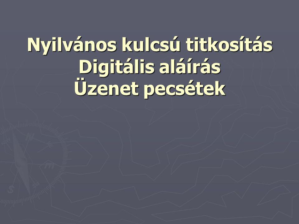 Nyilvános kulcsú titkosítás Digitális aláírás Üzenet pecsétek