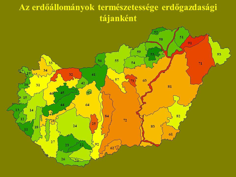Az erdőállományok természetessége erdőgazdasági tájanként