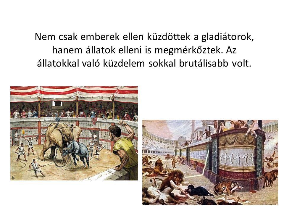 Nem csak emberek ellen küzdöttek a gladiátorok, hanem állatok elleni is megmérkőztek. Az állatokkal való küzdelem sokkal brutálisabb volt.