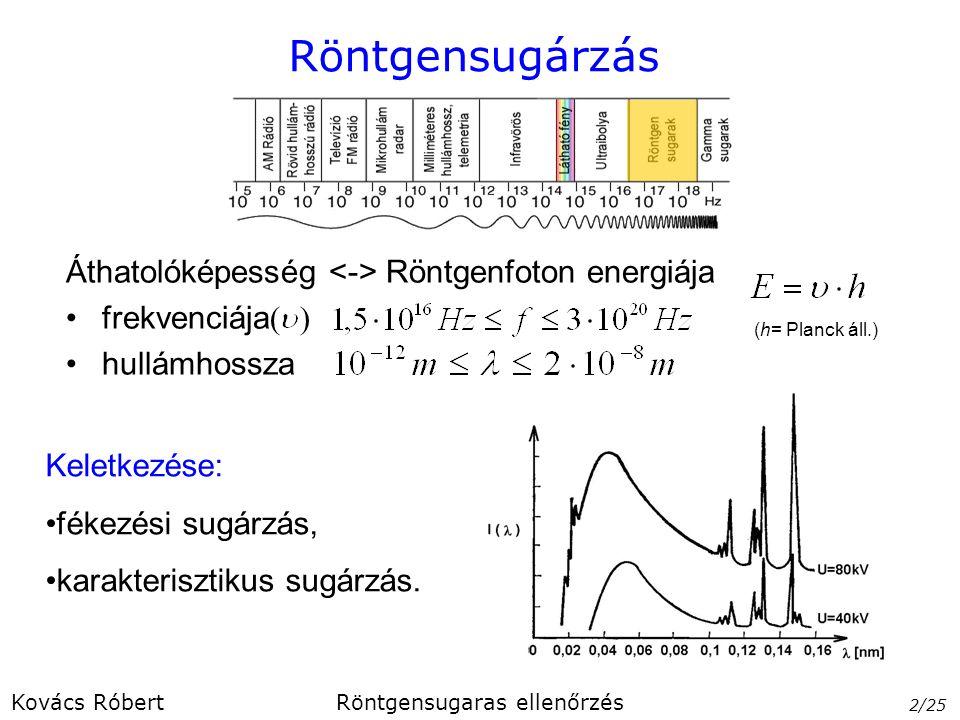Röntgensugárzás Áthatolóképesség Röntgenfoton energiája frekvenciája  hullámhossza Keletkezése: fékezési sugárzás, karakterisztikus sugárzás. 2/25