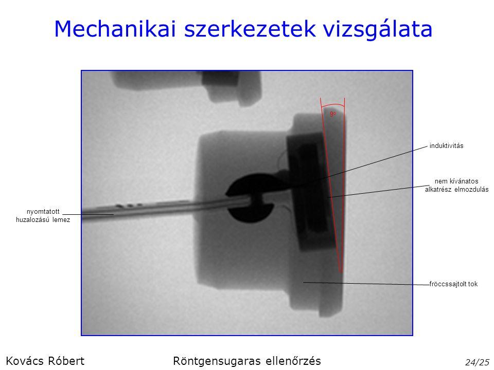 Mechanikai szerkezetek vizsgálata 24/25 Kovács RóbertRöntgensugaras ellenőrzés nyomtatott huzalozású lemez fröccssajtolt tok nem kívánatos alkatrész e